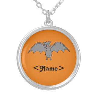Halloween Flying Bat in Gray Round Pendant Necklace