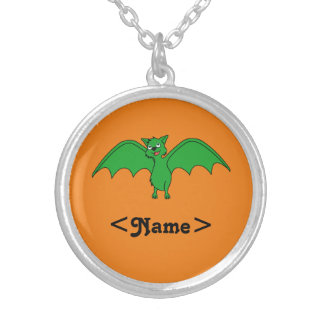 Halloween Flying Bat in Green Round Pendant Necklace
