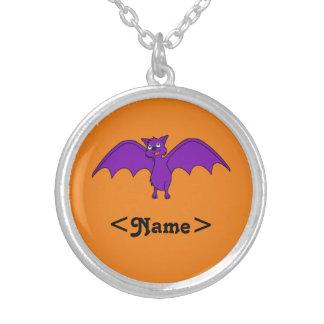 Halloween Flying Bat in Phantom Purple Round Pendant Necklace