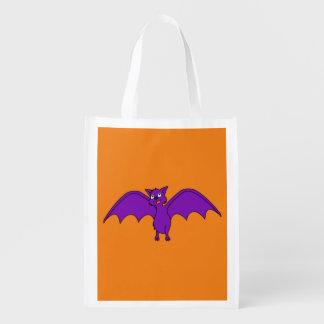 Halloween Flying Bat in Phantom Purple Market Totes