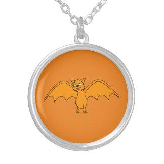 Halloween Flying Bat in Pumpkin Orange Round Pendant Necklace