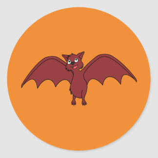 Halloween Flying Bat in Vampire Red Classic Round Sticker