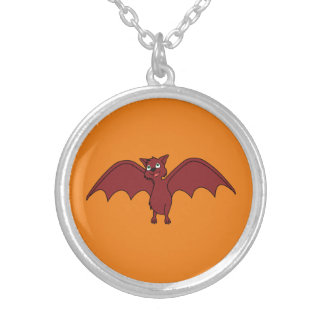 Halloween Flying Bat in Vampire Red Round Pendant Necklace