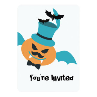 Halloween flying pumpkin bat mustache bow top hat card