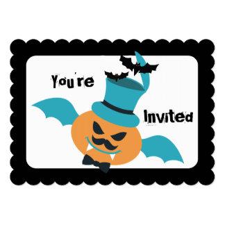 Halloween flying pumpkin bat mustache bow top hat custom invite