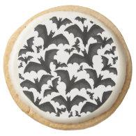 Halloween Flying Vampire Bats Cookies Round Sugar Cookie
