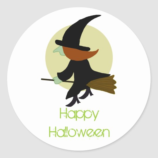 Halloween Flying Witch Classic Round Sticker
