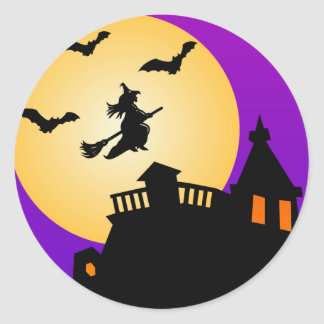 Halloween Flying Witch Haunted House Stickers