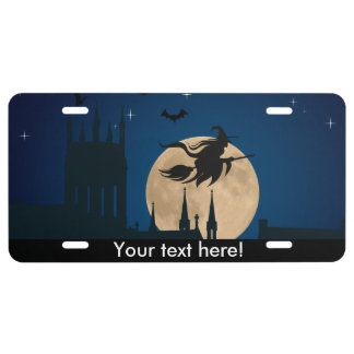 Halloween flying witch license plate