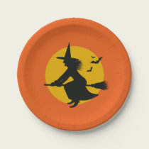 Halloween Flying Witch Paper Plates