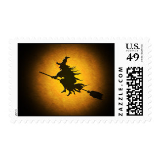 Halloween Flying Witch Postage Stamp