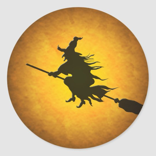 halloween flying witch stickers
