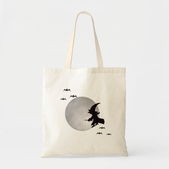 Halloween Flying Witch Tote Bag