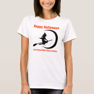 Halloween- Flying witch with crescent moon T-Shirt