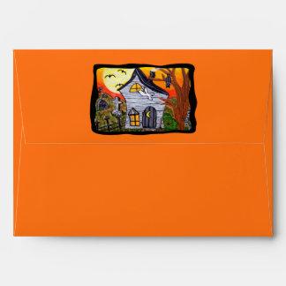 Halloween Folk Art Haunted House Envelope