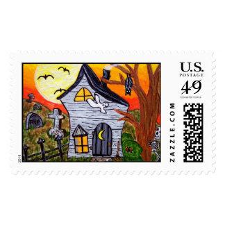 Halloween Folk Art Haunted House Scene Postage Stamp