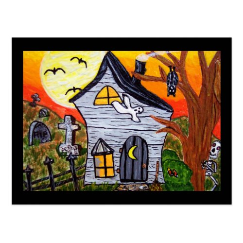 Halloween Folk Art Haunted House Scene Postcard