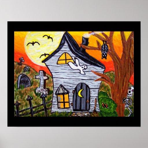 Halloween Folk Art Haunted House Scene Posters