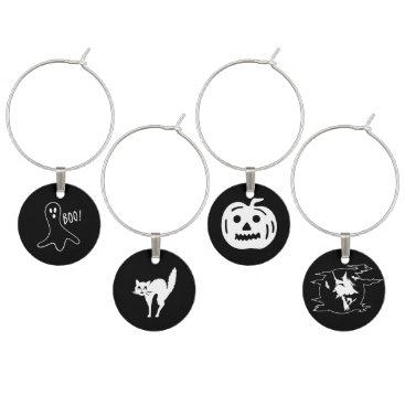 Halloween Themed Halloween Fonts Set - Witch, Ghost, Cat, Pumpkin Wine Glass Charm