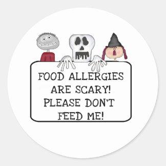 Halloween Food Allergies Round Sticker