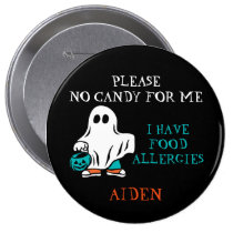 Halloween Food Allergy Alert Ghost Teal Pumpkin Button