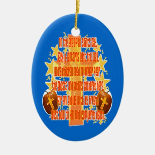 Halloween for Christians (Poem) Double-Sided Oval Ceramic Christmas Ornament