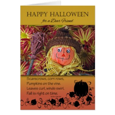 Halloween Themed Halloween for Friend, Cute Scarecrow Photograph Card