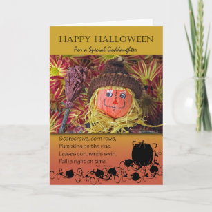 Halloween For Goddaughter Cute Scarecrow And Poem Card