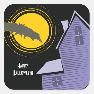 Halloween frecuentado pegatina cuadrada