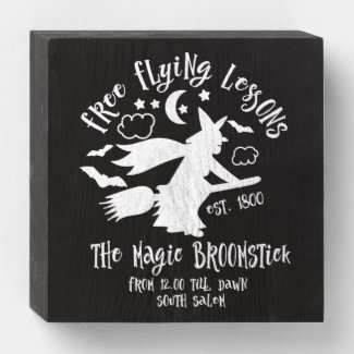 Halloween Free Flying Lessons Wooden Box Sign
