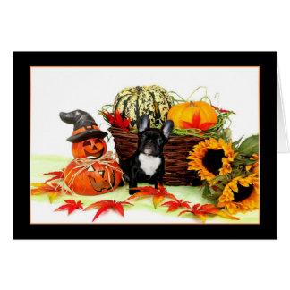 Halloween French bulldog notecard