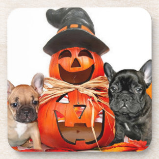 Halloween French Bulldogs Beverage Coaster