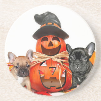 Halloween French Bulldogs Drink Coaster