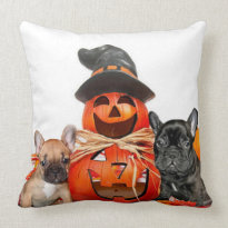 Halloween French bulldogs square throw pillow