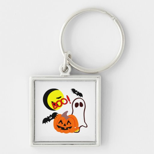 Halloween Friends Silver-Colored Square Keychain