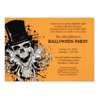 Halloween Fright Night Skull Costume Party Card