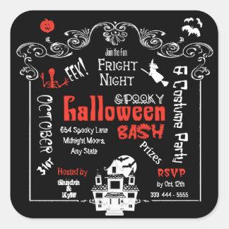 Halloween Fright Night Sticker Invitation