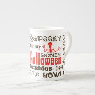 Halloween Fright Night Typography Tea Cup