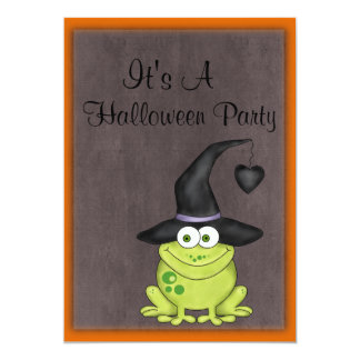 Halloween Frog in a Witches Hat Card