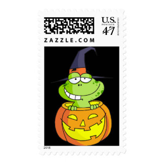 Halloween Frog in the Pumpkin Postage Stamp