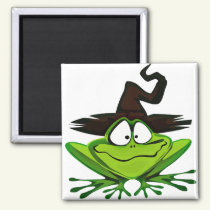 Halloween Frog in Witch Hat Magnet
