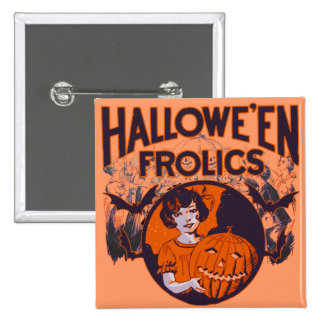 Halloween Frolic vintage 2 Inch Square Button