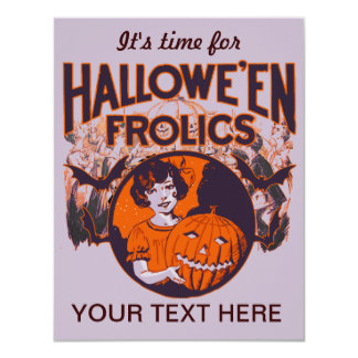 Halloween Frolic vintage 4.25x5.5 Paper Invitation Card