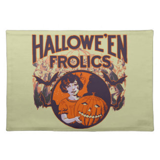 Halloween Frolic vintage Cloth Placemat