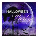 "Halloween Full Moon & Bats Nightsky Invitation 5.25"" Square Invitation Card"