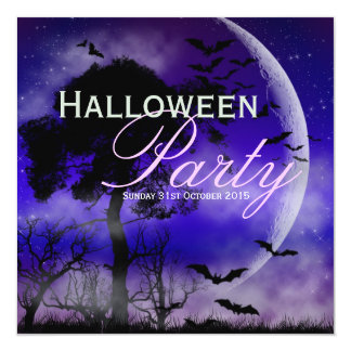 Halloween Full Moon & Bats Nightsky Invitation
