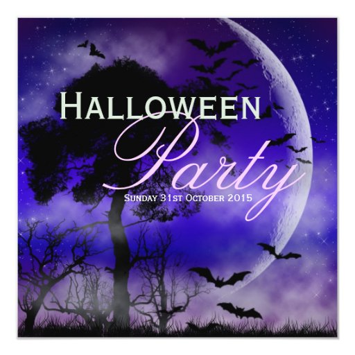 Halloween Full Moon & Bats Nightsky Invitation