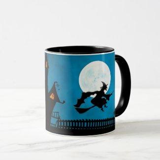 Halloween Full Moon Flying Witch Haunted House Mug