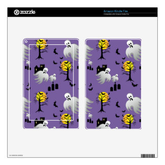 Halloween Full Moon Ghosts on Purple Decals For Kindle Fire