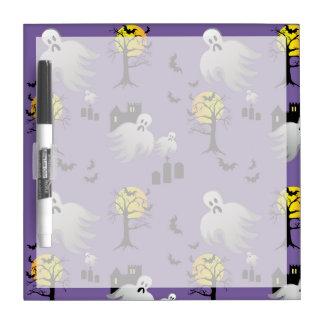 Halloween Full Moon Ghosts on Purple Dry-Erase Whiteboard